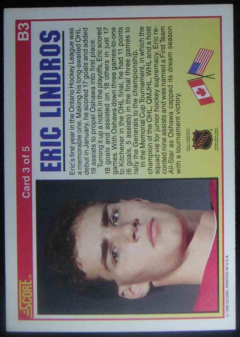 1990-91 Score Eric Lindros #B3 card back image