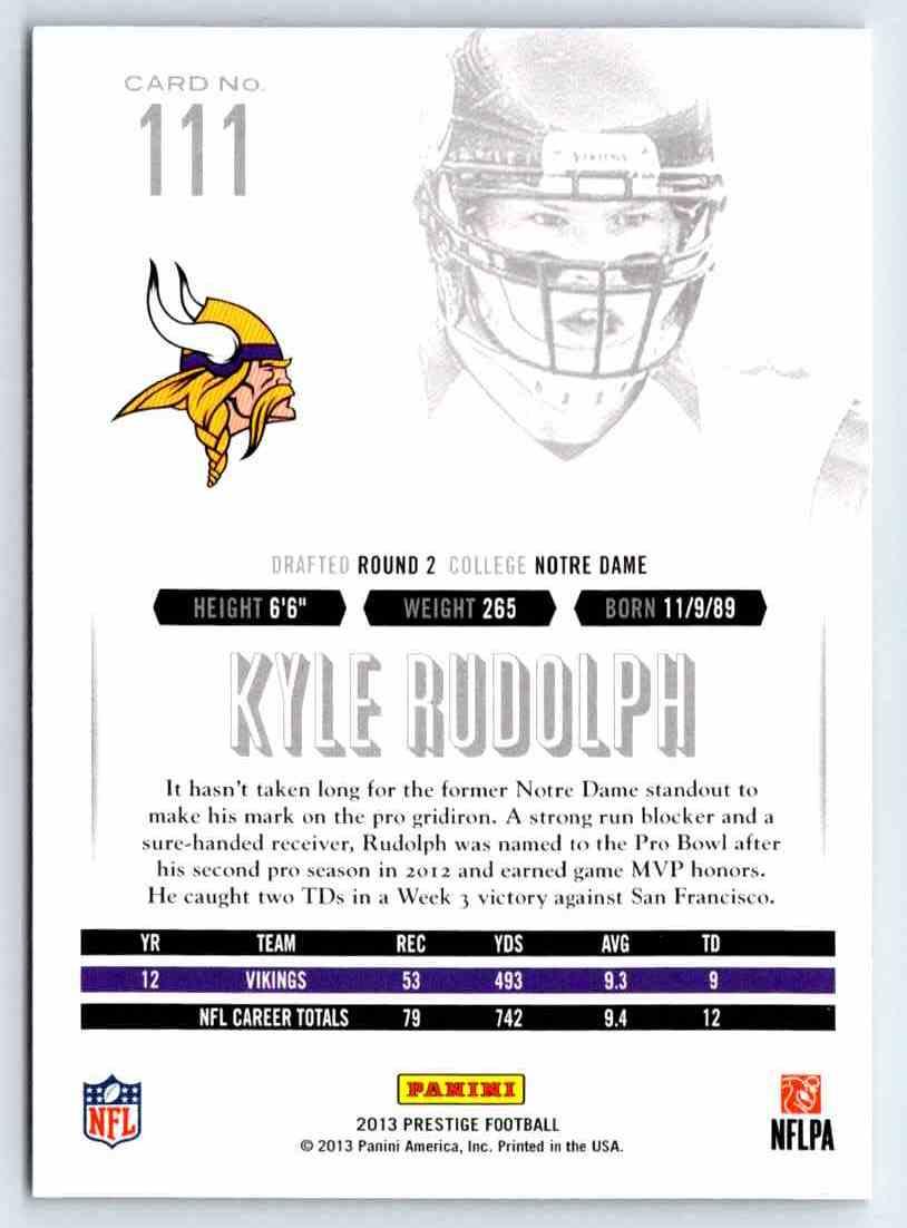 2013 Prestige Kyle Rudolph #111 card back image