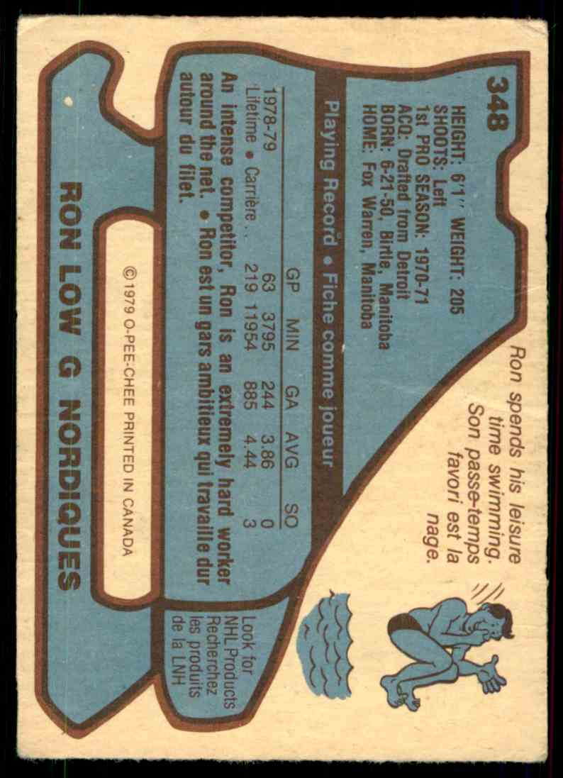 1979-80 O-Pee-Chee Ron Low #348 card back image
