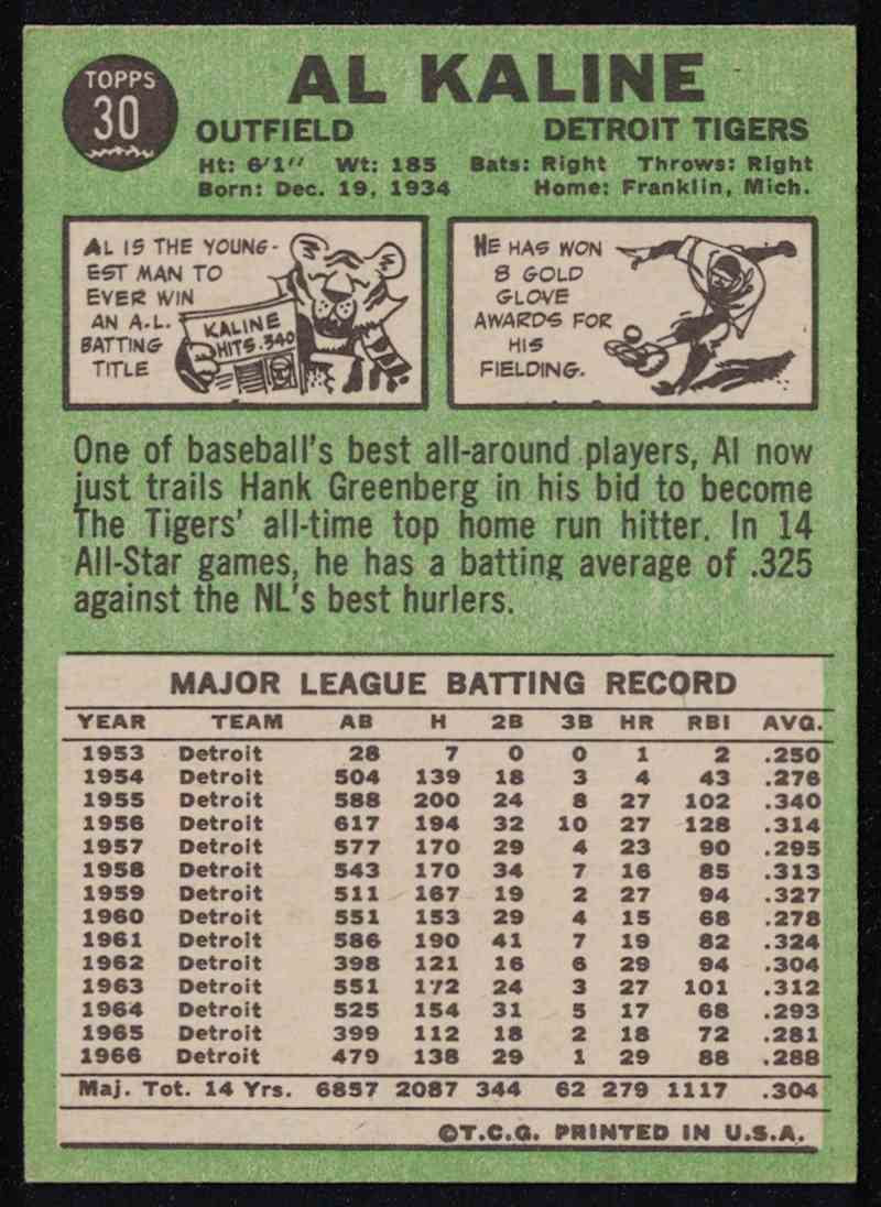 1967 Topps Al Kaline NM #30 card back image
