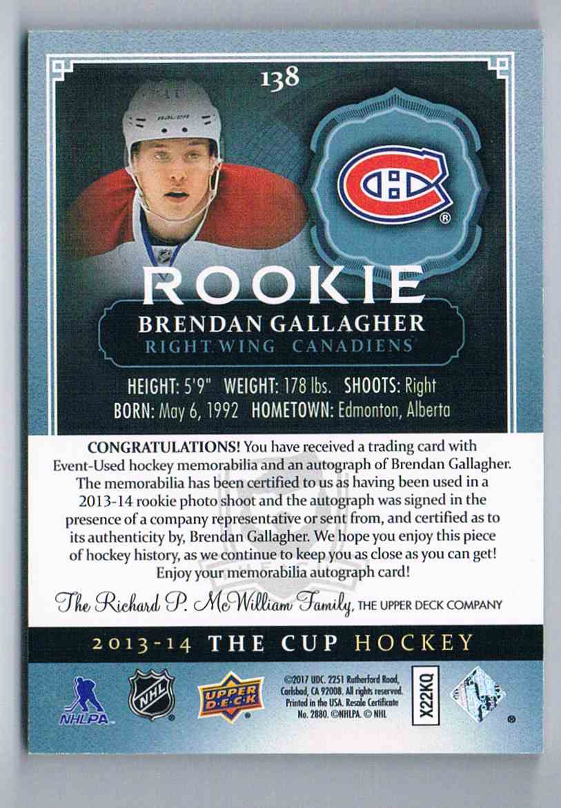 2013-14 Upper Deck The Cup Jersey Autograph Brendan Gallagher #138 card back image
