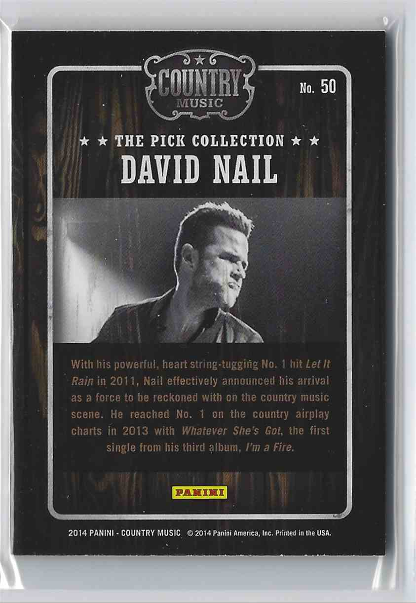 2015 Country Music Pick Collection David Nail #50 card back image
