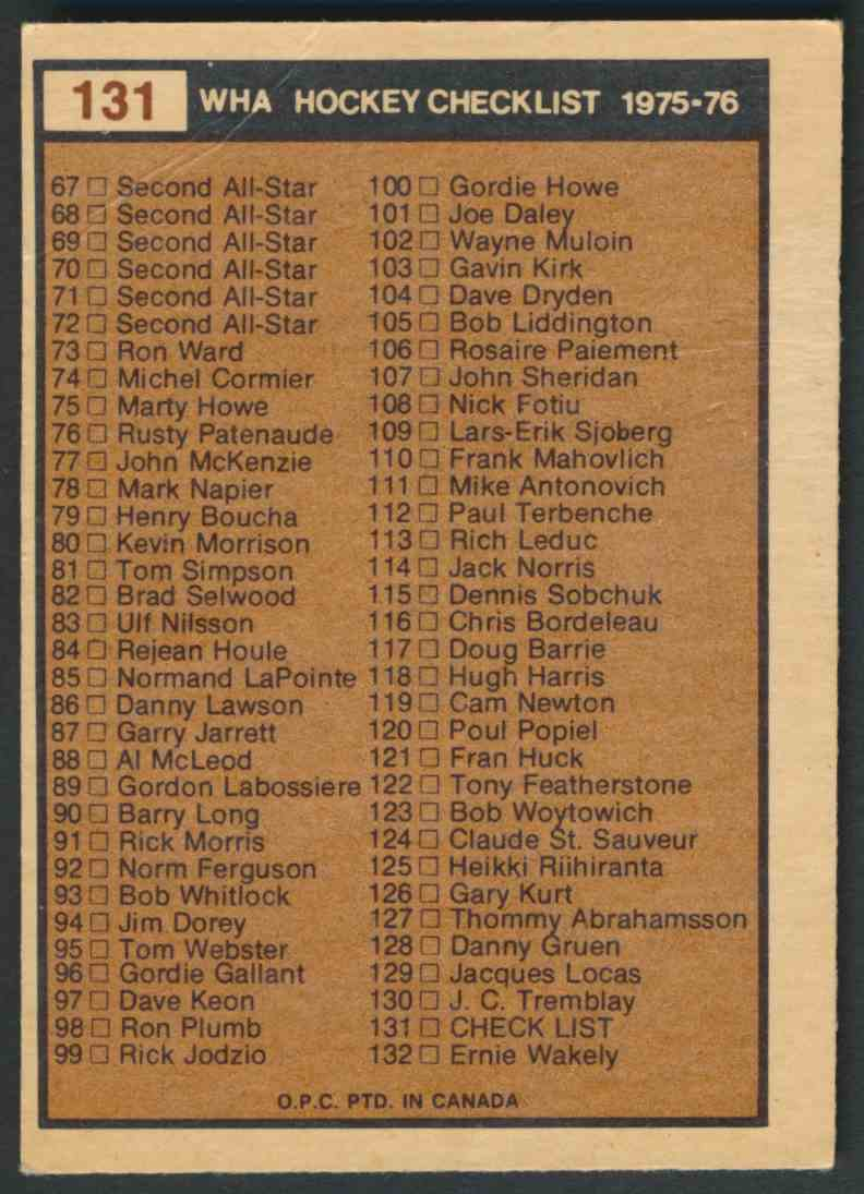 1975-76 O-Pee-Chee Wha Wha Checklist - Good Due To Crease #131 card back image