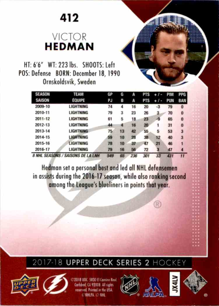 2017-18 Upper Deck Exclusives Victor Hedman #412 card back image