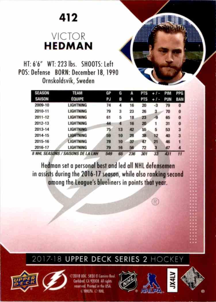 2017-18 Upper Deck Exclusives Victor Hedman #412 card back image