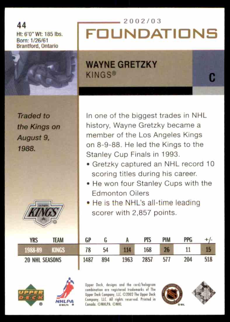 2002-03 Upper Deck Foundations Wayne Gretzky #44 card back image