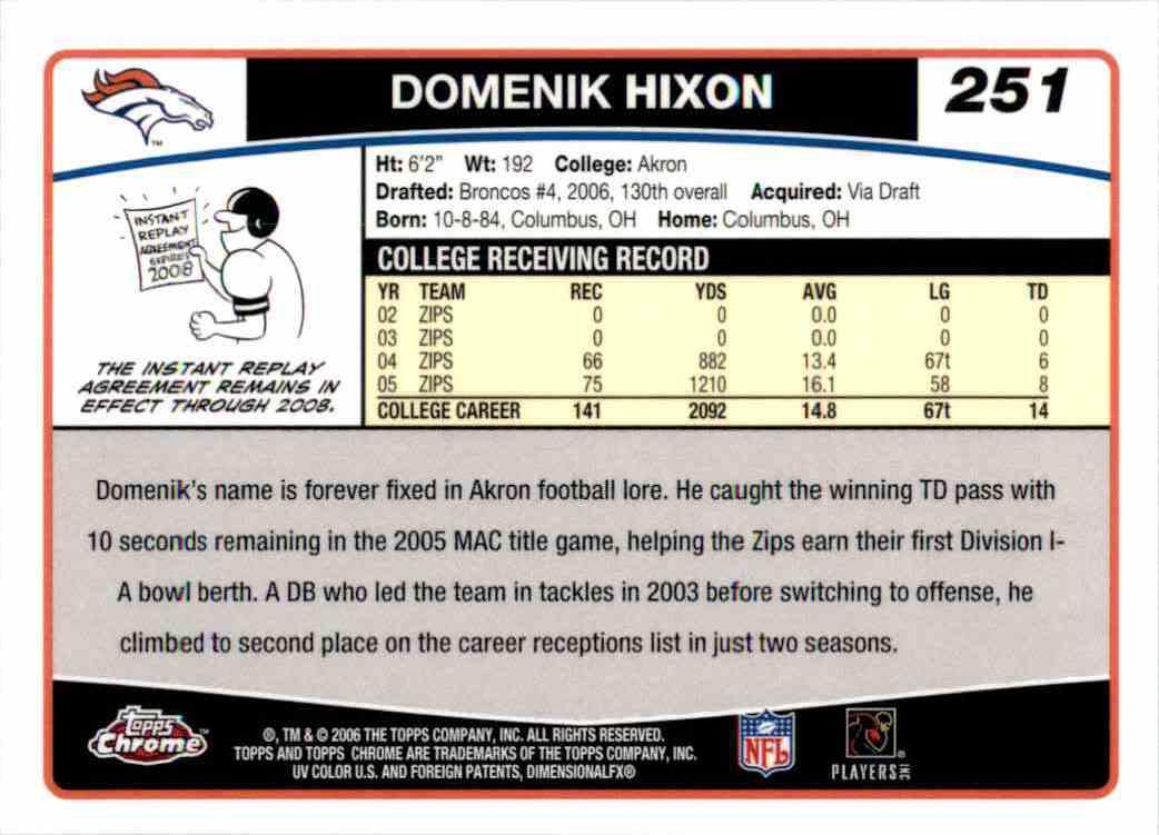 2006 Topps Chrome Domenik Hixon RC #251 card back image