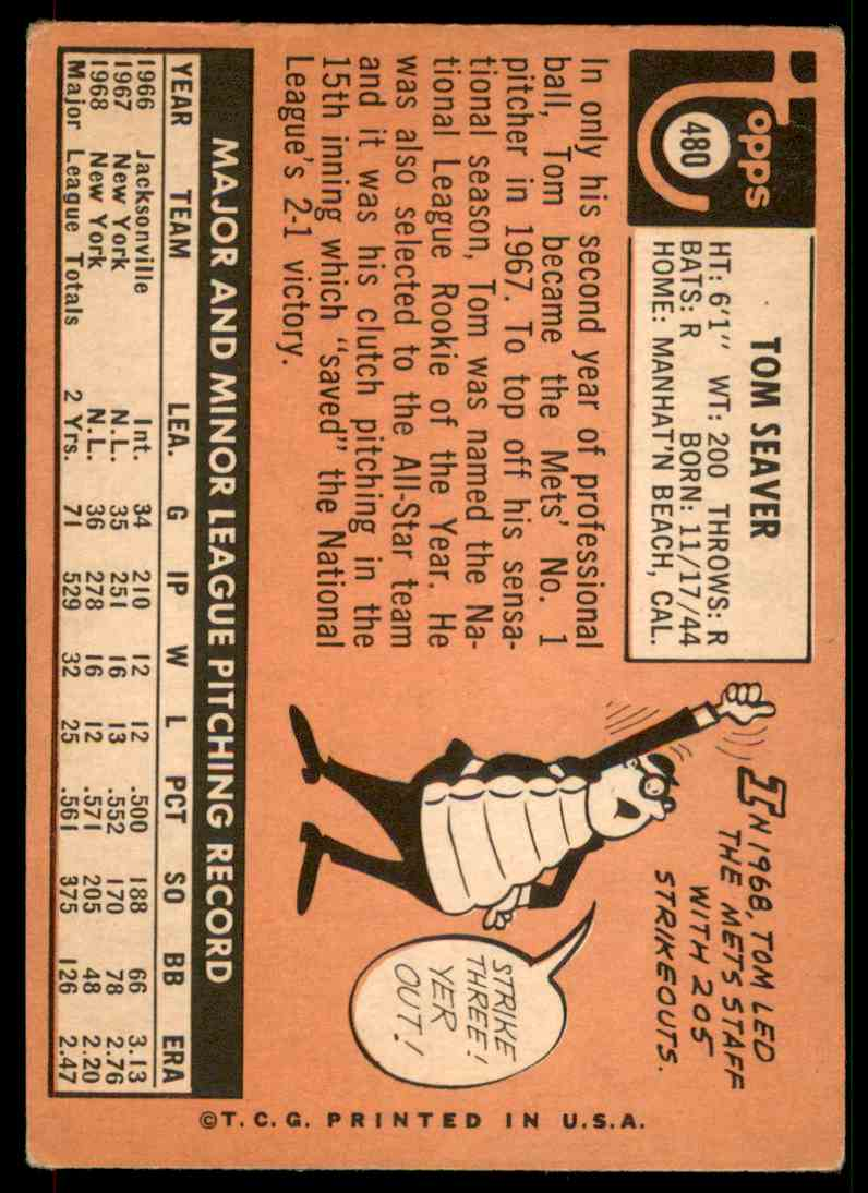 1969 Topps Tom Seaver #480 card back image