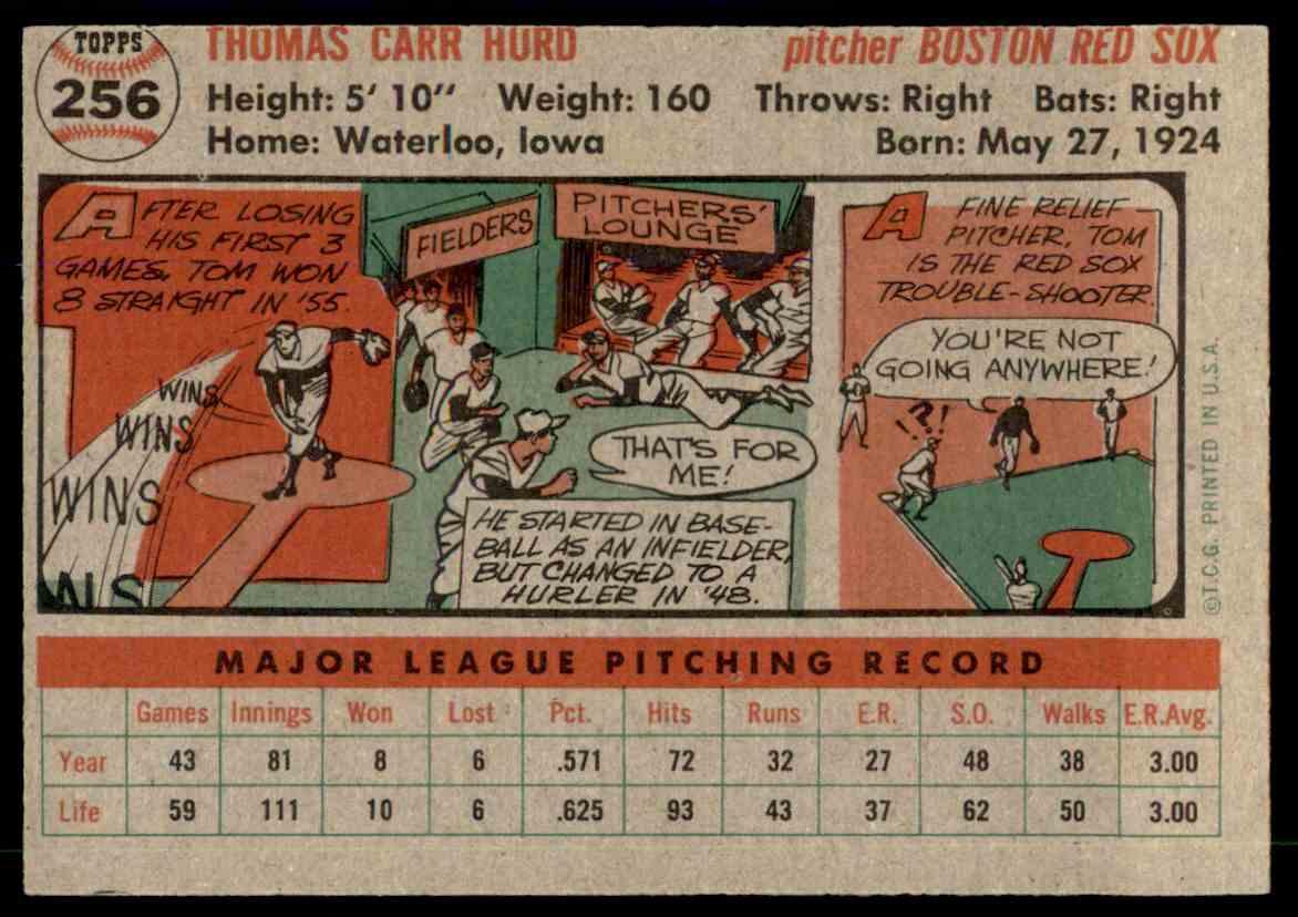 1956 Topps #256 Tom Hurd Boston Red Sox Baseball Card