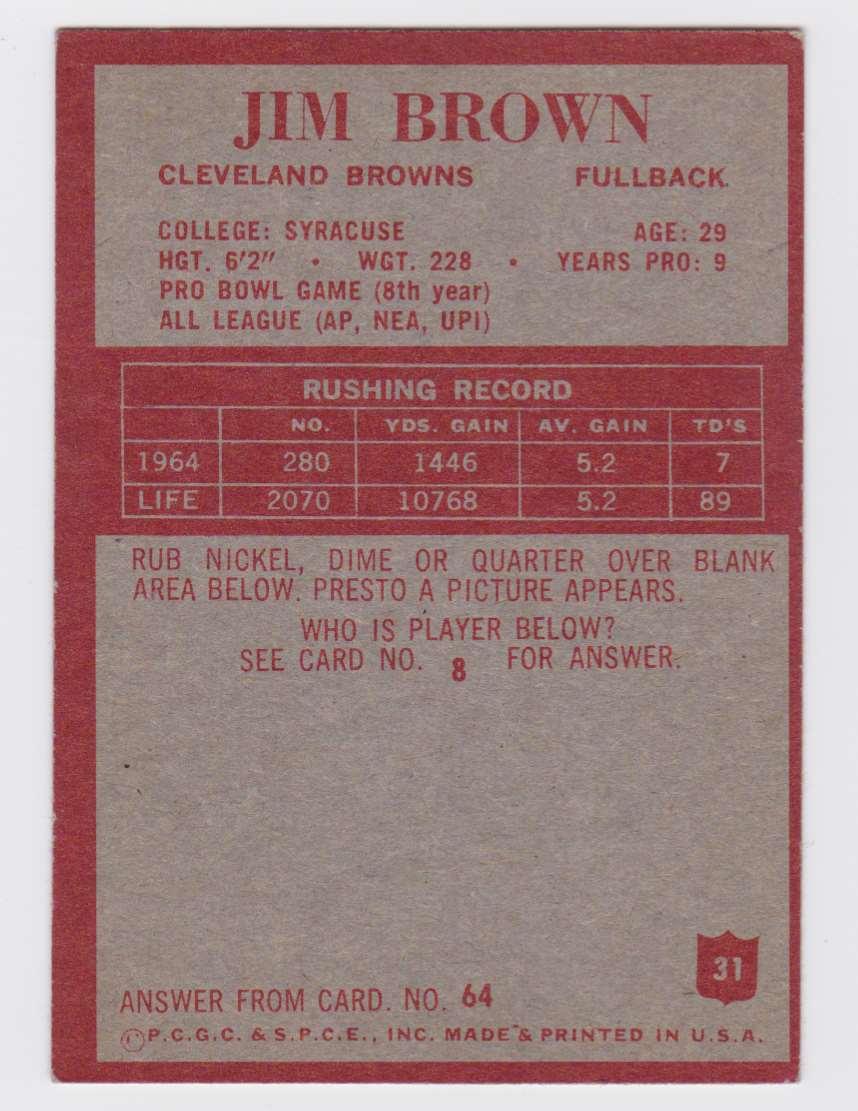 1965 Pcgc Jim Brown #31 card back image