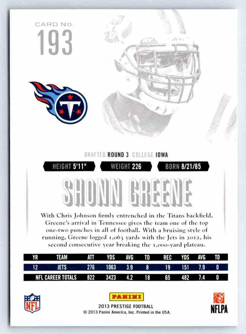 2013 Prestige Shonn Greene #193 card back image