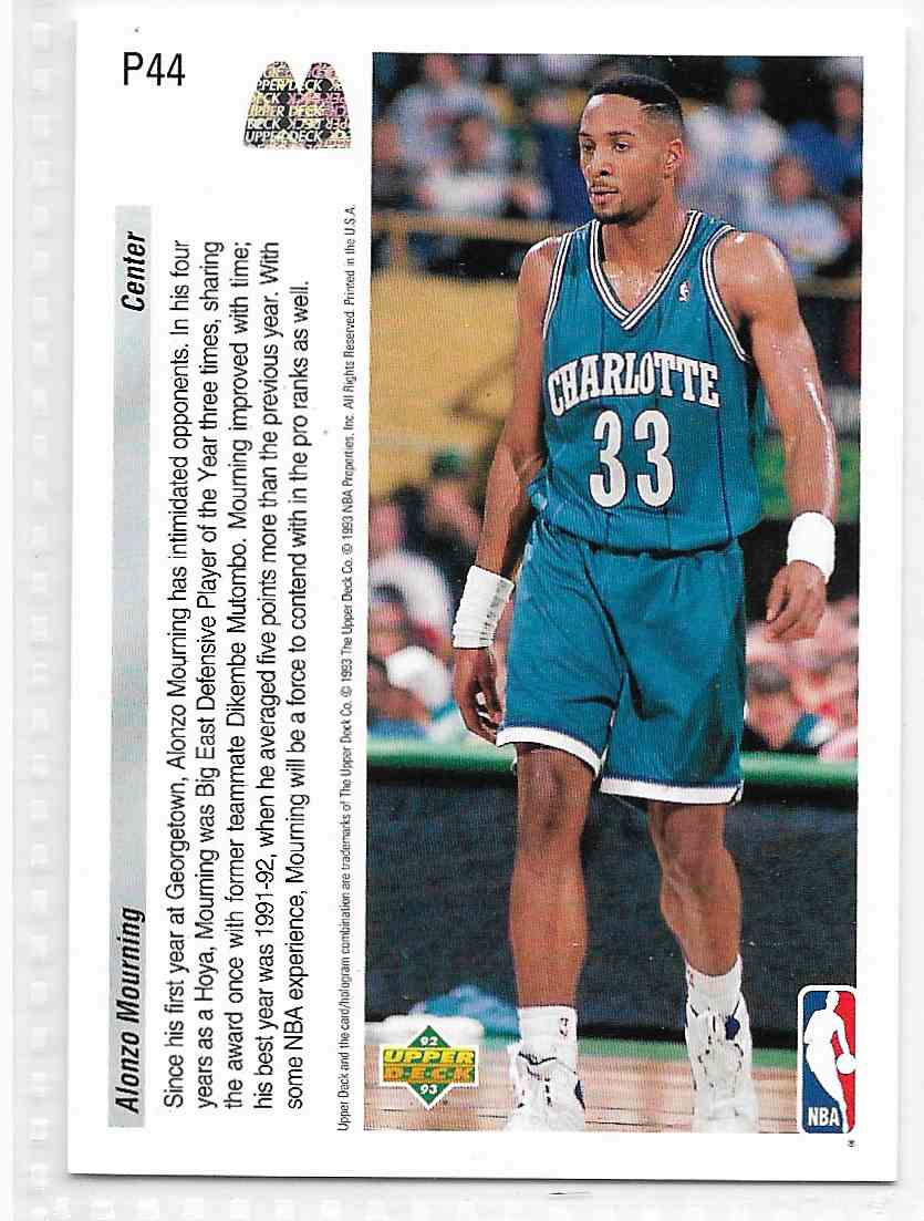 1993-94 Upper Deck McDonald Alonzo Mourning #P44 card back image