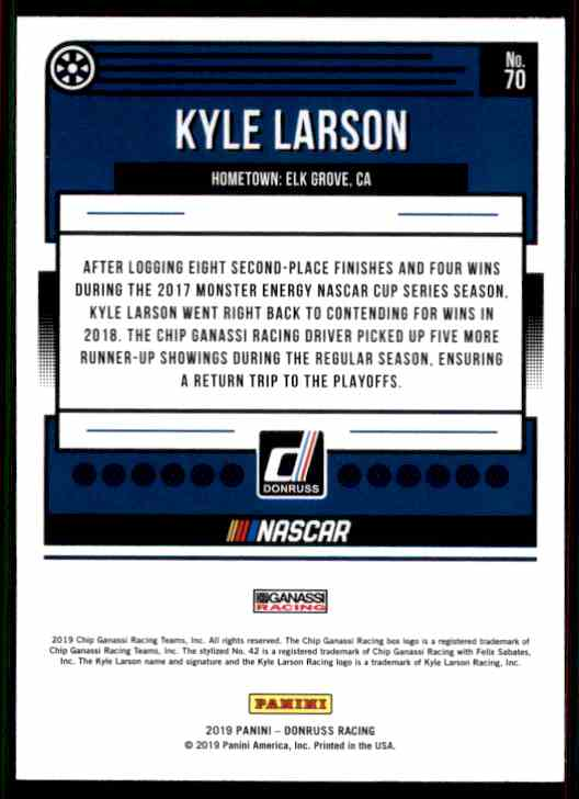 2019 Donruss Kyle Larson #70 card back image
