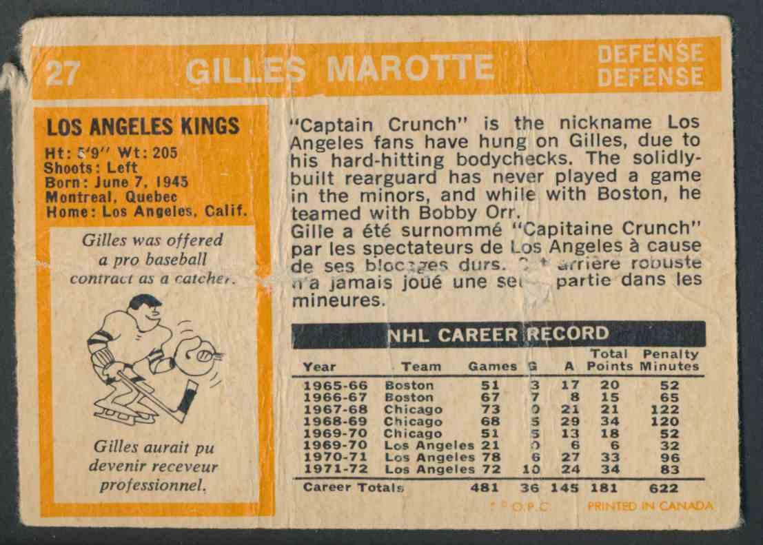 1972-73 O-Pee-Chee Gilles Marotte #27 card back image