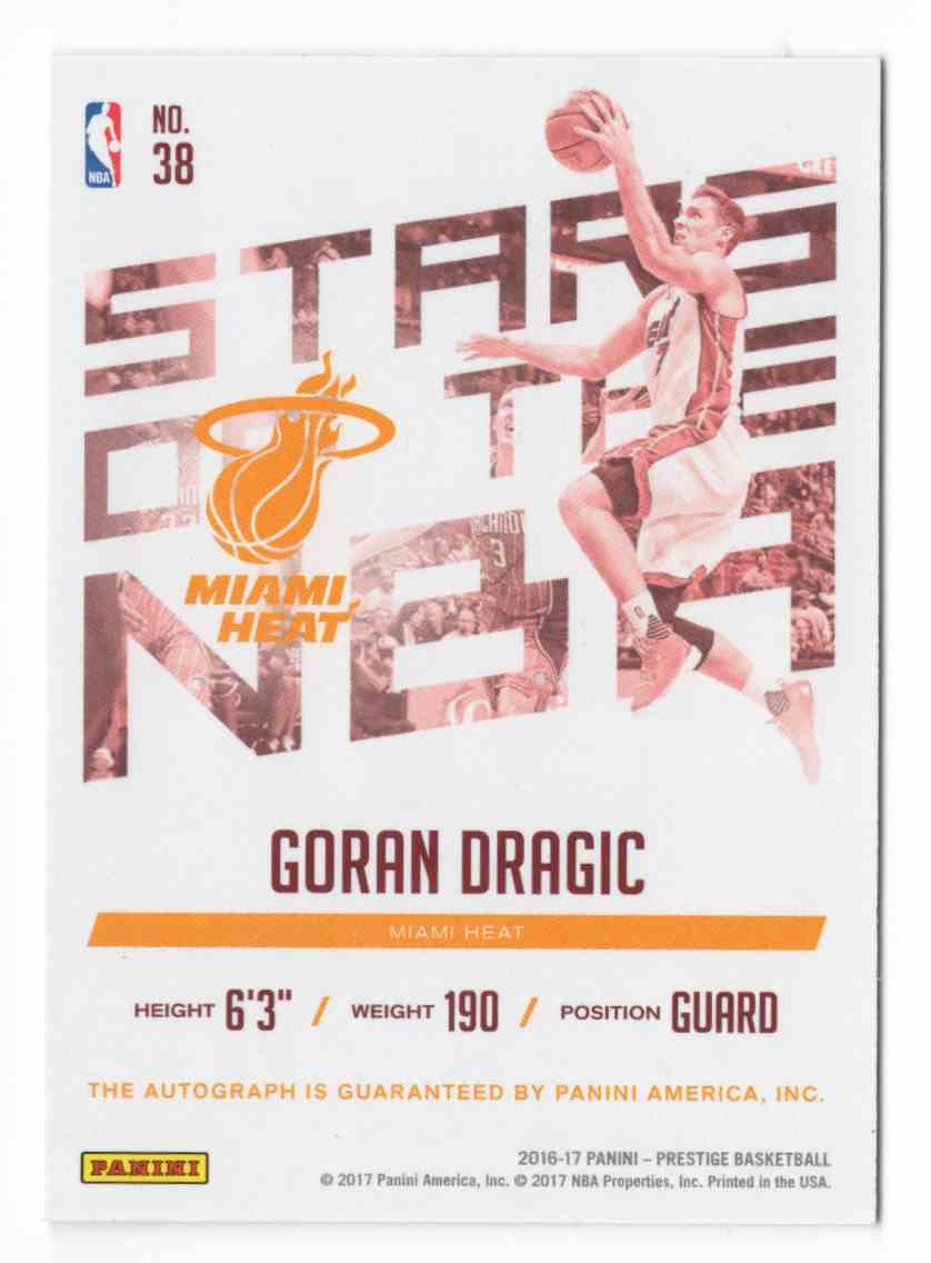 2016-17 Prestige Stars Of The NBA Signatures Goran Dragic #38 card back image