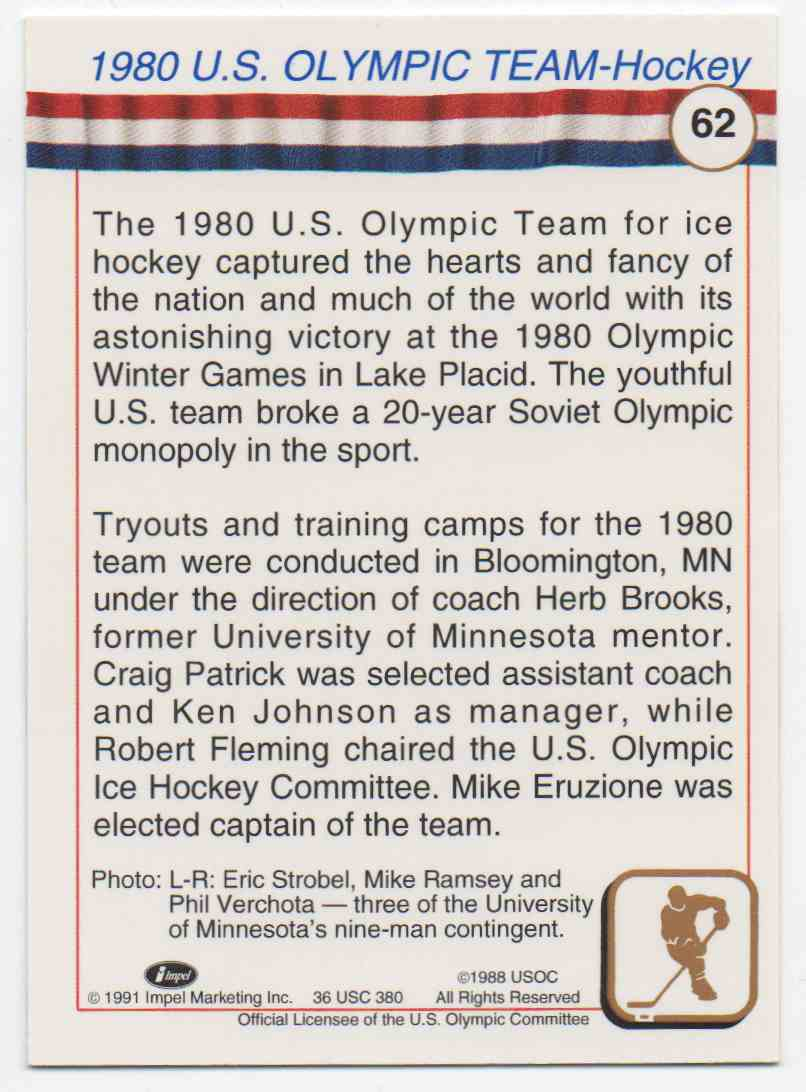 1991 Impel U.S. Olympic Hall Of Fame Strobel, Ramsey, & Verchota #62 card back image