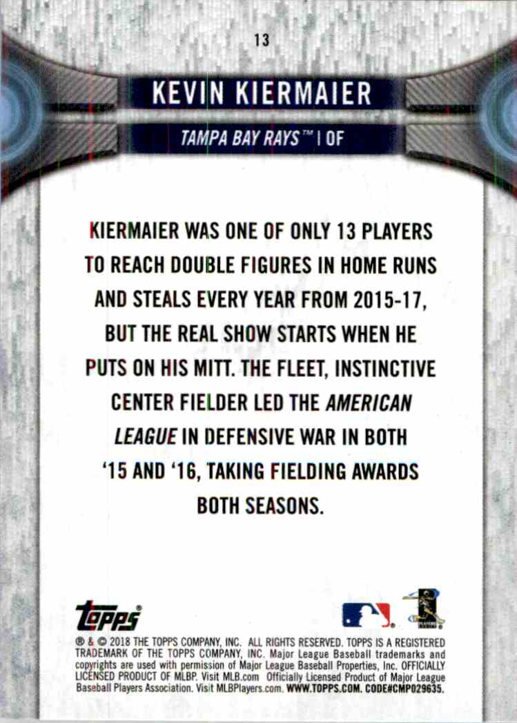 2018 Topps National Baseball Card Day Kevin Kiermaier 13 On Kronozio