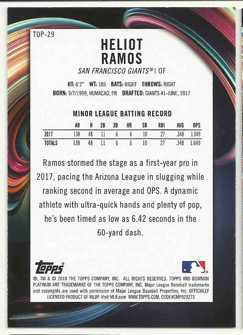 2018 Bowman Platinum Top Prospects Heliot Ramos #TOP-29 card back image