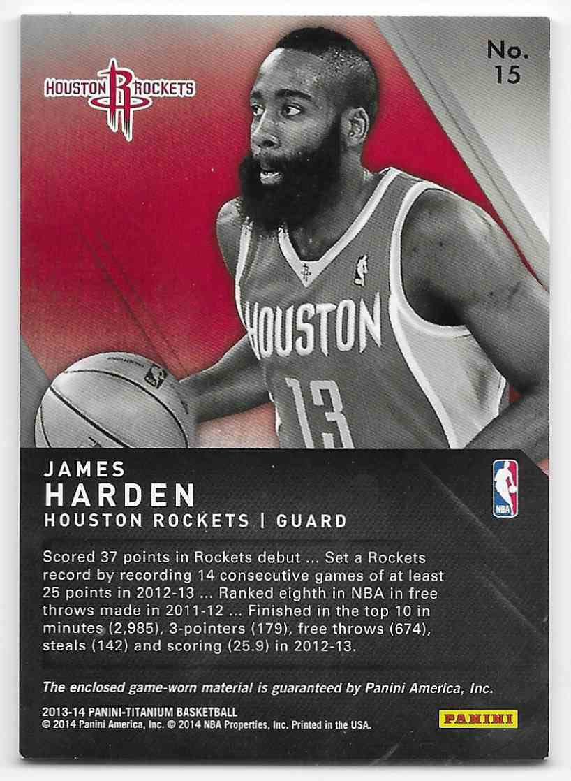 2018-19 Panini Titanium Titanic Threads Jumbo James Harden #15 card back image