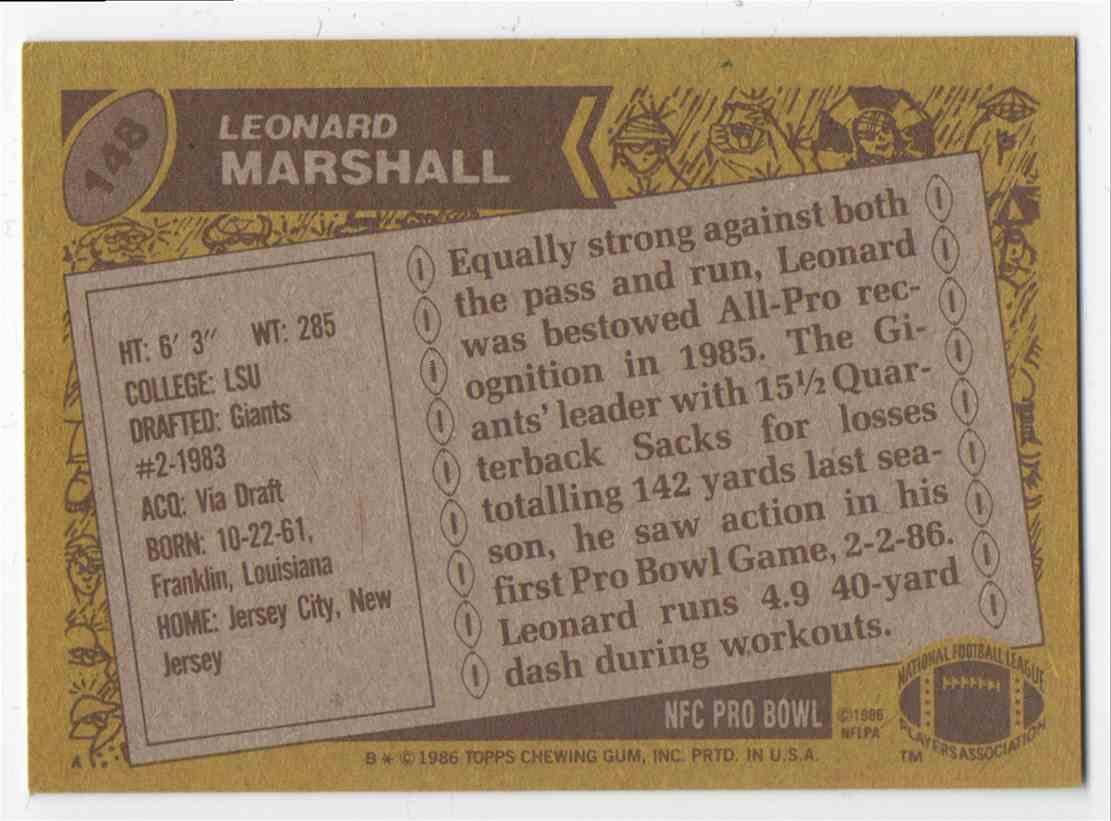 1986 Topps Leonard Marshall #148 card back image