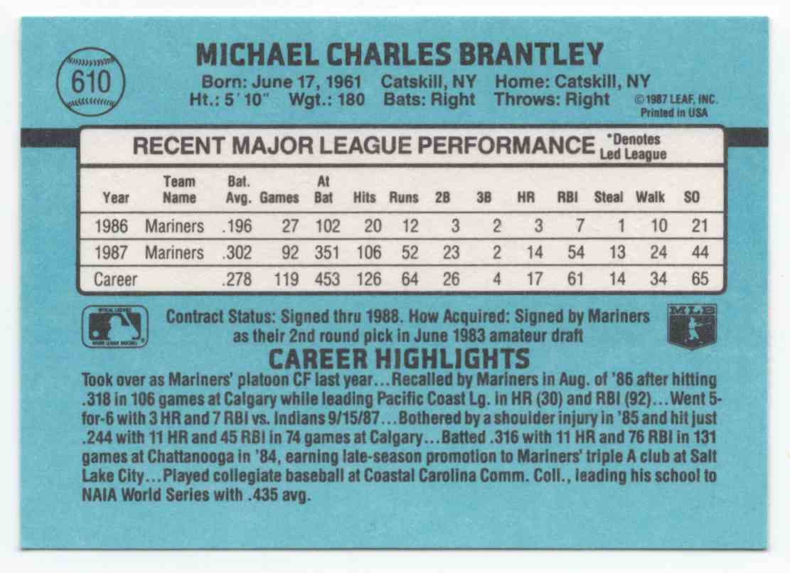 1988 Donruss Mickey Brantley #610 card back image