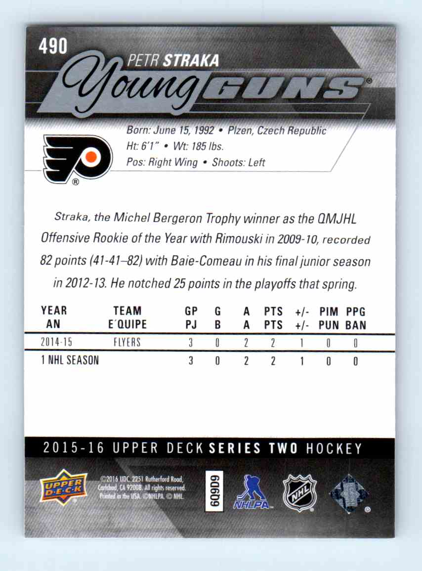 2015-16 Upper Deck Young Guns Petr Straka #490 card back image
