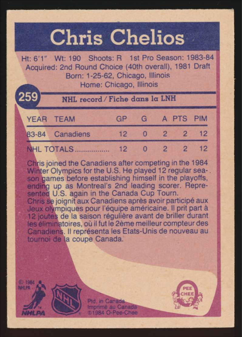 1984-85 OPC Chris Chelios #259 card back image