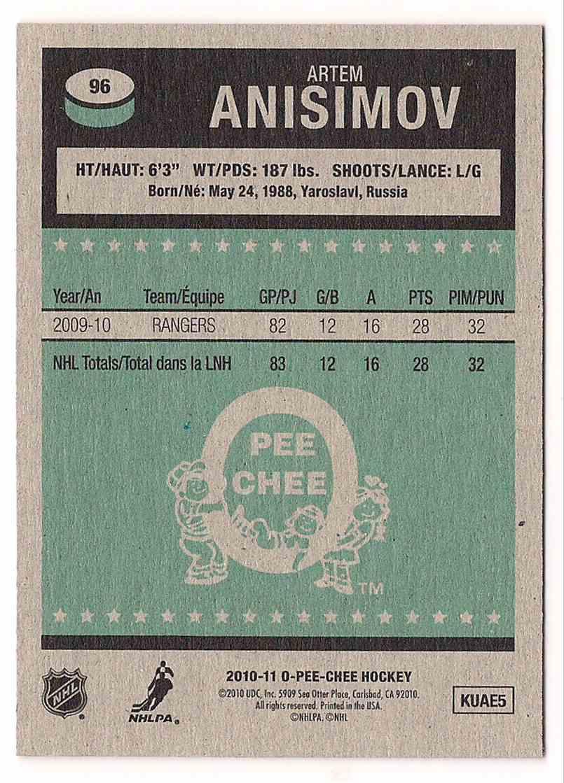 2010-11 O-Pee-Chee Retro Artem Anisimov #96 card back image