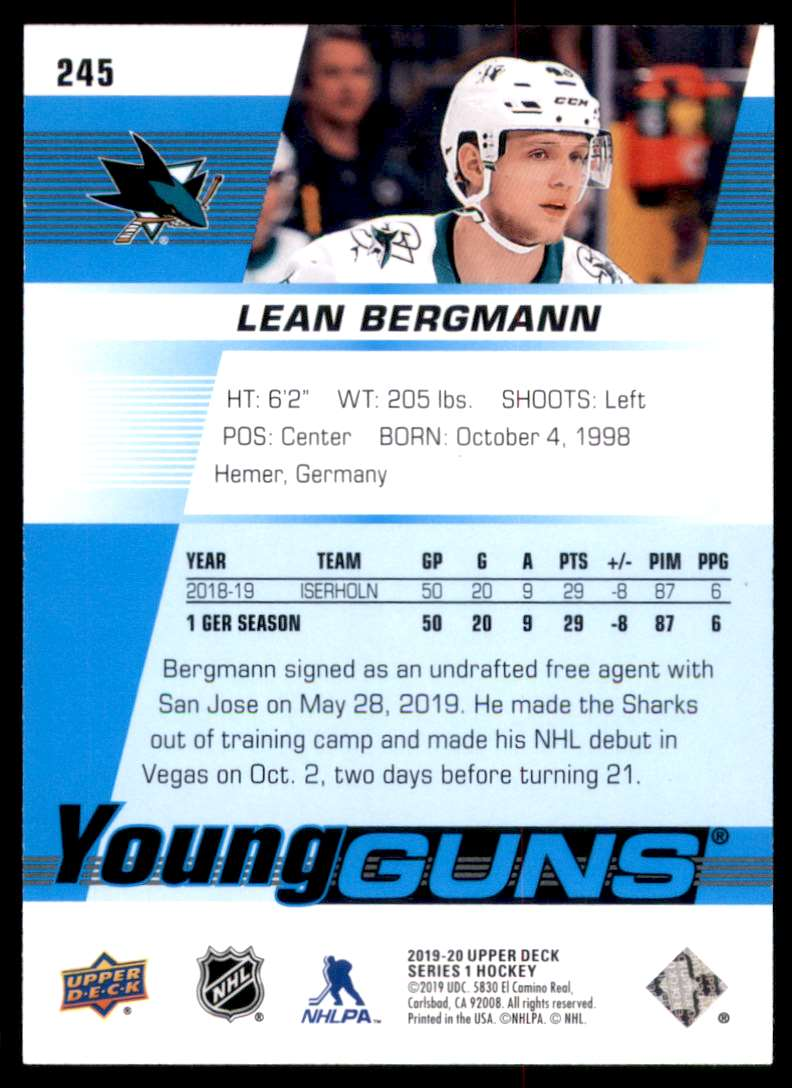 2019-20 Upper Deck Lean Bergmann Yg RC #245 card back image