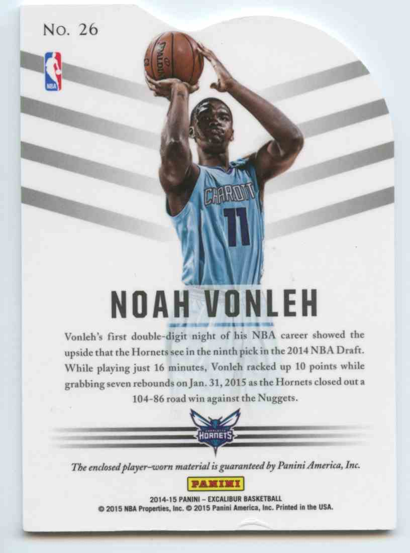 2014-15 Panini Excalibur Basketball Noah Vonleh #26 card back image