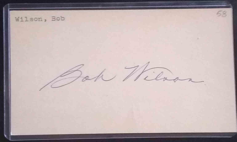 1958 3X5 Bob Wilson card back image