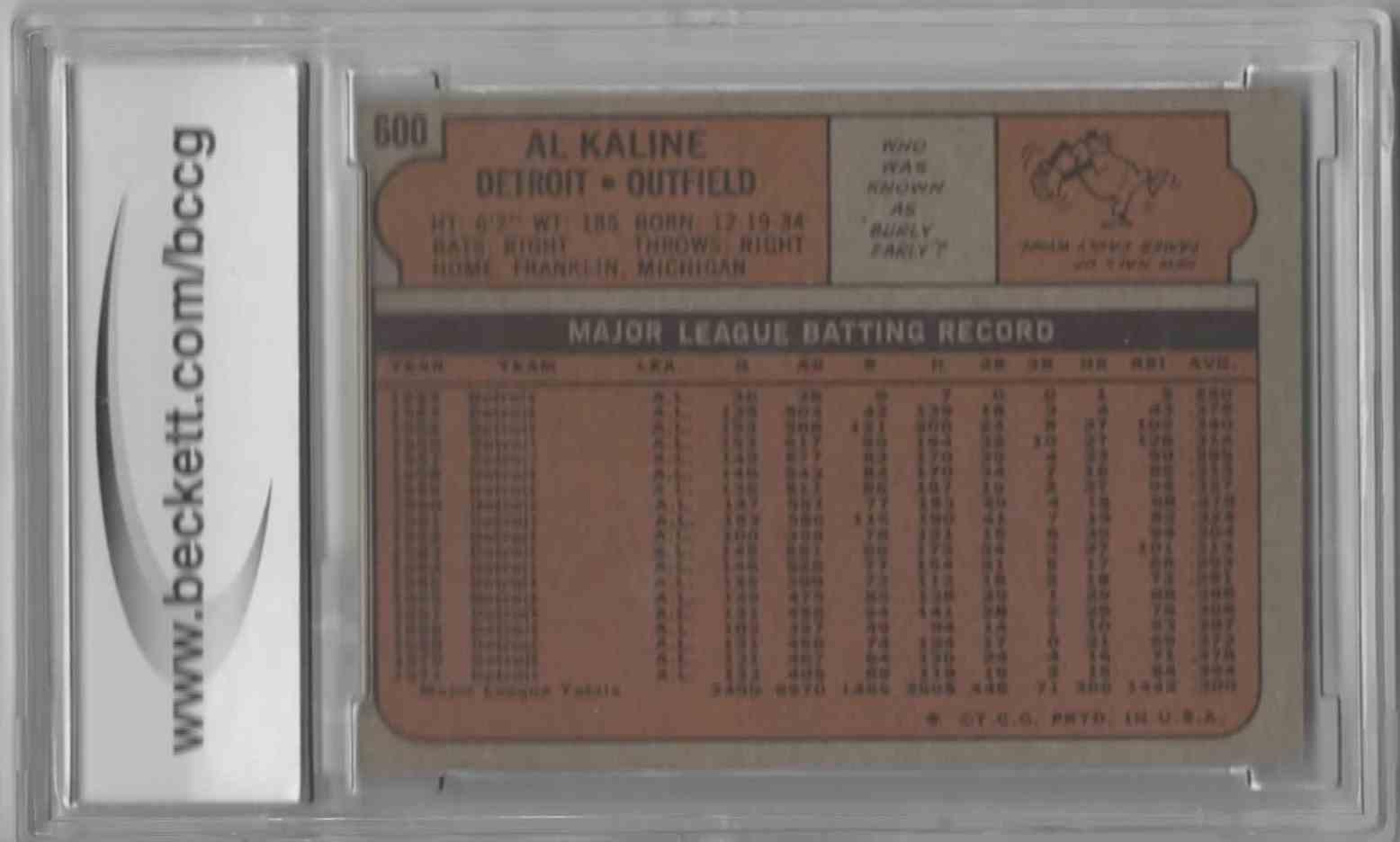 1972 Topps Al Kaline #600 card back image