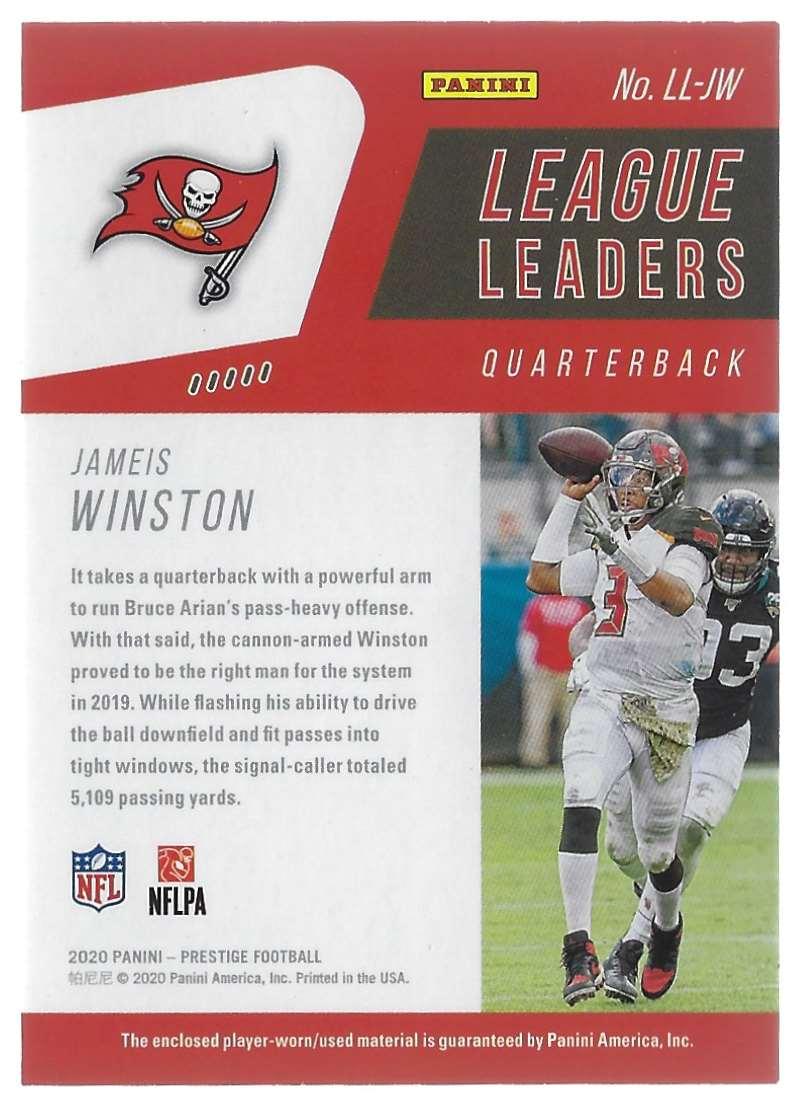2020 Prestige League Leaders Jerseys Jameis Winston #LLJW card back image