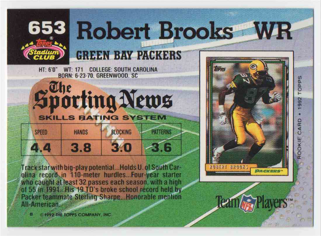 1992 Stadium Club Robert Brooks #653 card back image