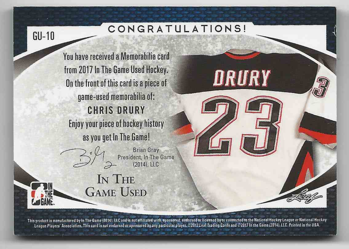 2017-18 ITG Used Jerseys Chris Drury #GU-10 card back image
