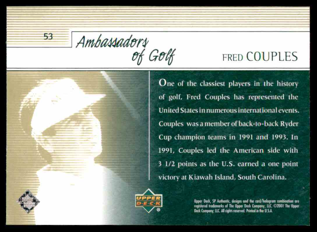 2001 SP Authentic Preview Fred Couples Ag #53 card back image