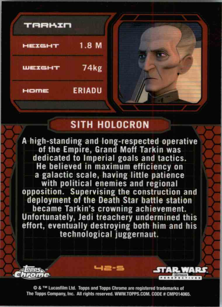 2015 Topps Chrome Star Wars Sith Information Guide Tarkin #42-S card back image