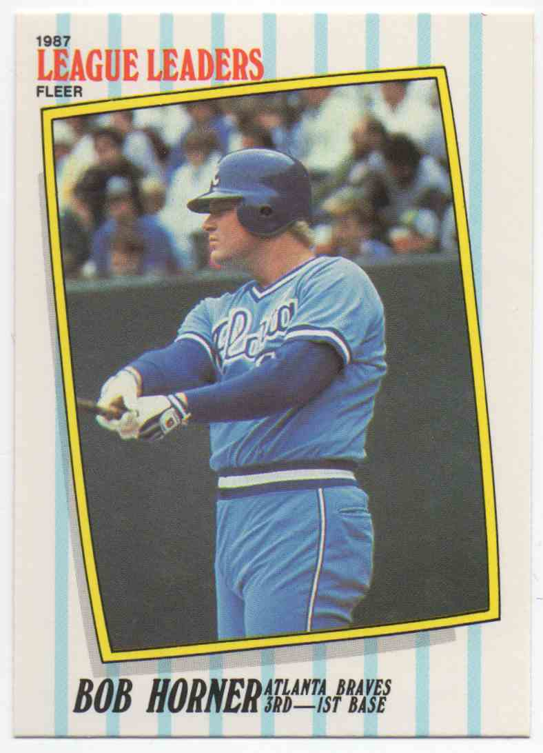 1987 Fleer League Leaders Bob Horner #24 card front image
