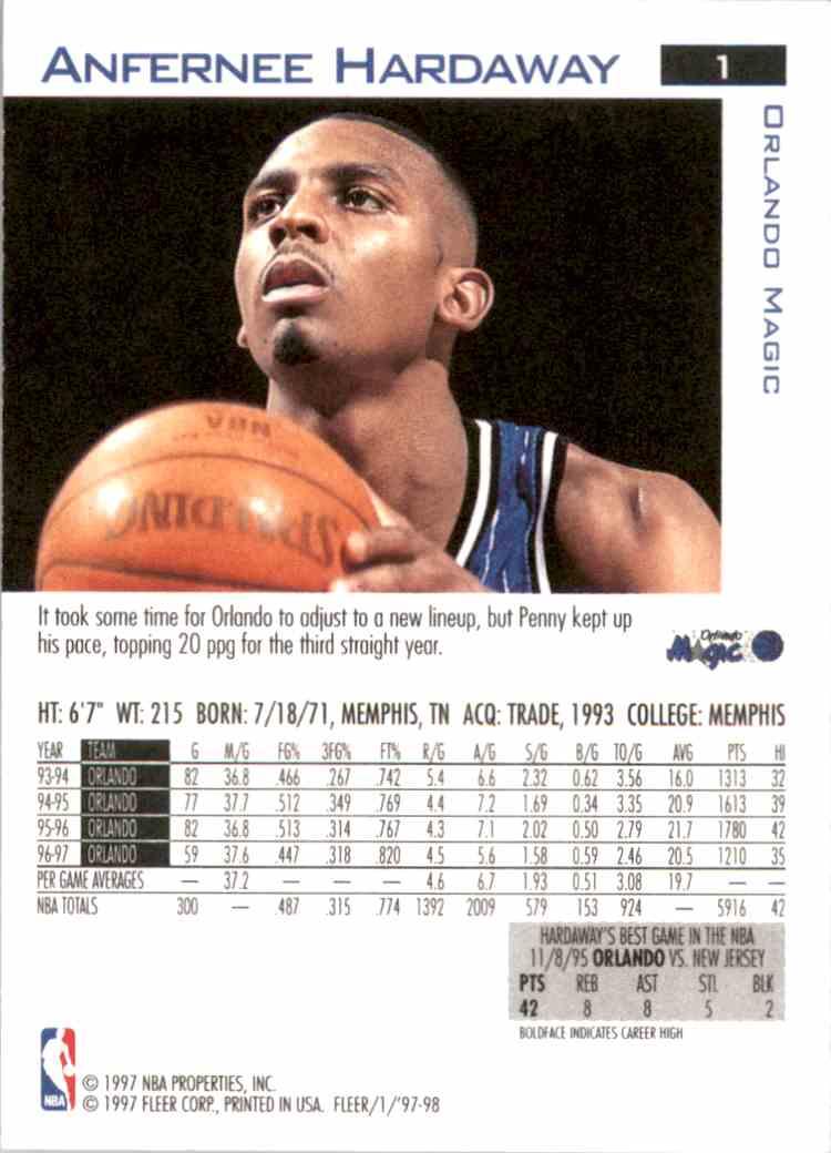 1997-98 Fleer Anfernee Hardaway #1 card back image