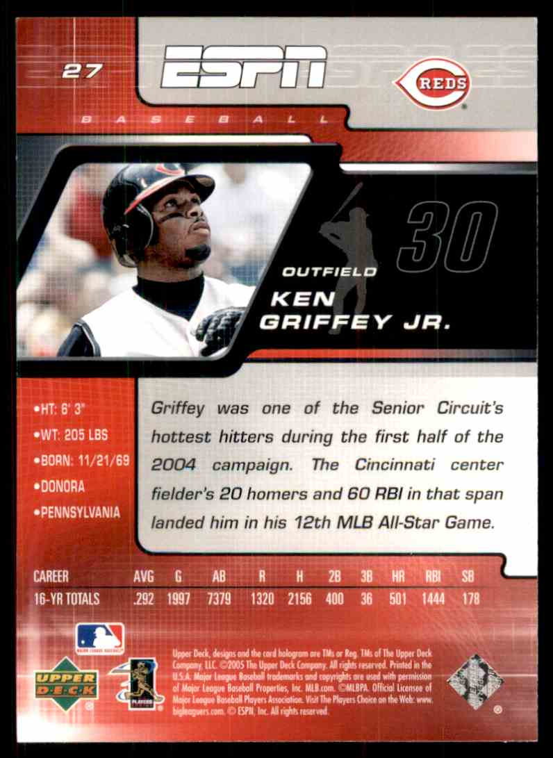 cbe5bea73a Real card back image 2005 Upper Deck ESPN Ken Griffey JR. #27 card back  image