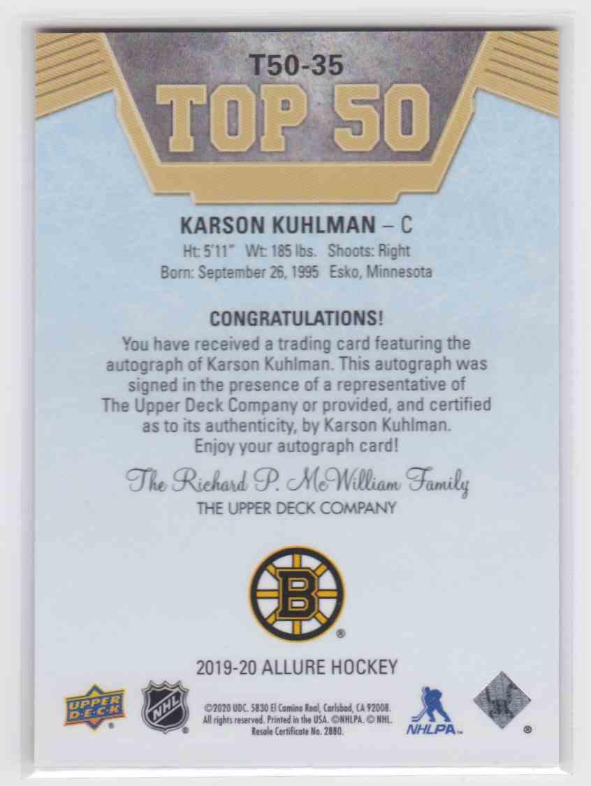 2019-20 Upper Deck Hockey Allure Karson Kuhlman - Top 50 Auto #T50-35 card back image