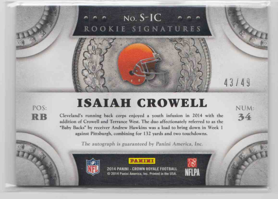 2014 Panini Crown Royale Rookie Signatures Gold Isaiah Crowell #S-IC card back image