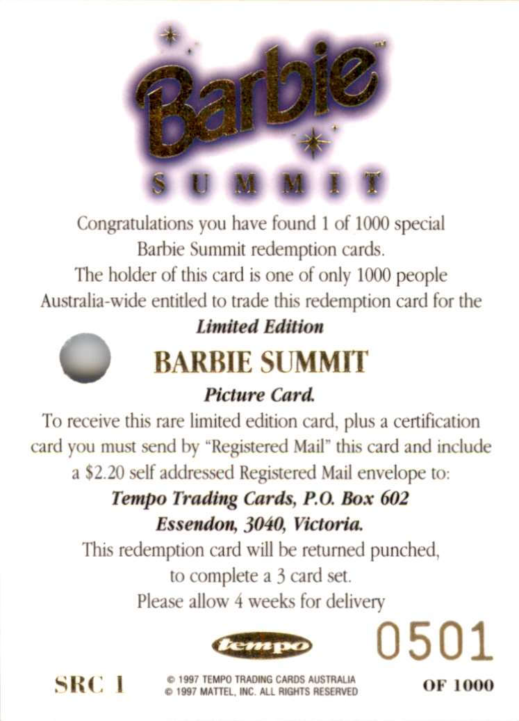 1997 World Of Barbie Summit Redemption Series Summit Redemption #SRC1 card back image