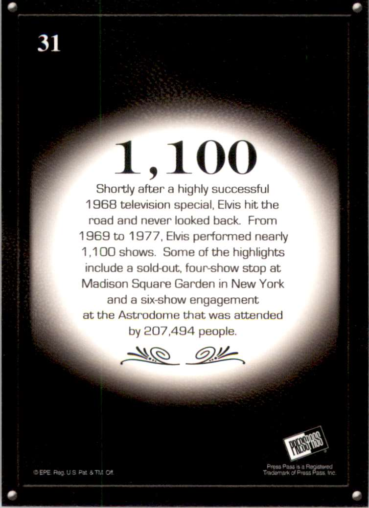 2008 Elvis By The Numbers 1,100 #31 card back image
