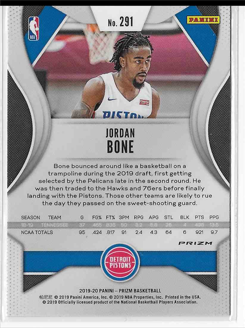 2019-20 Panini Prizm Orange Cracked Ice Prizm Jordan Bone #291 card back image