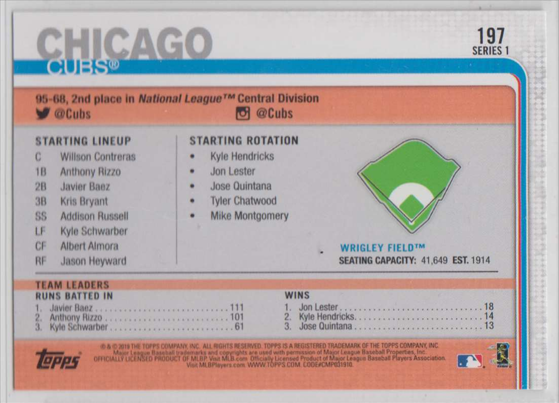2019 Topps Wrigley Field Park #197 card back image
