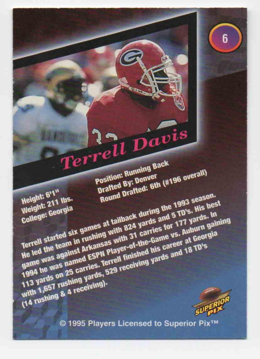 1995 Superior Pix Terrell Davis #6 card back image