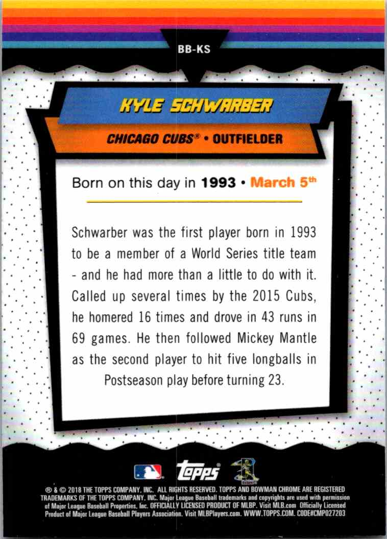 2018 Bowman Chrome Bowman Birthdays Kyle Schwarber #BB-KS card back image