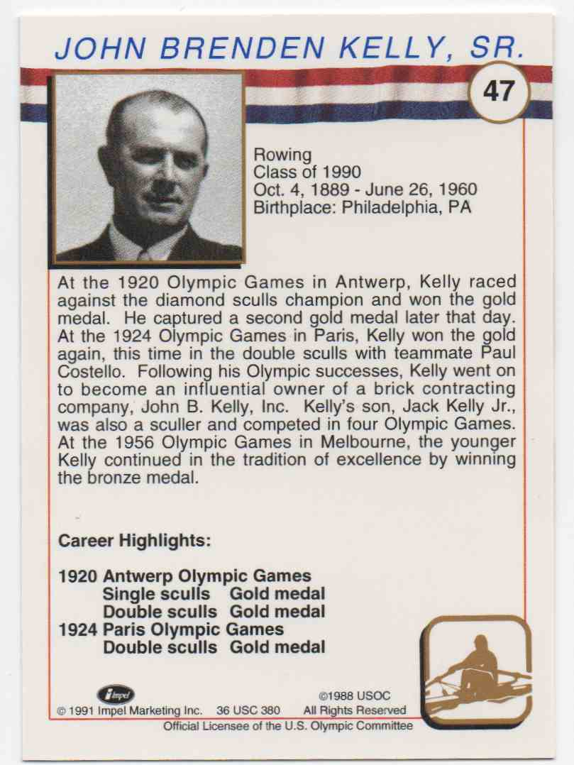 1991 Impel U.S. Olympic Hall Of Fame John Kelly Sr. #47 card back image