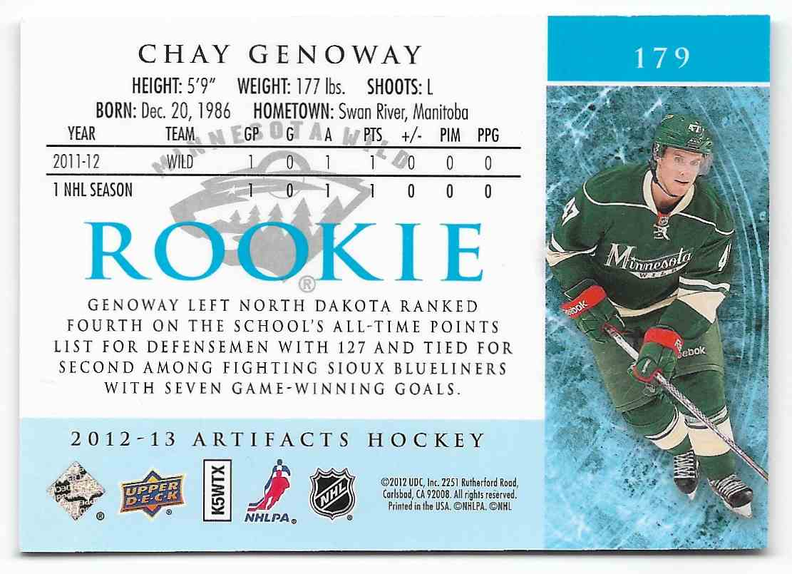 2012-13 Upper Deck Artifacts Chay Genoway #179 card back image